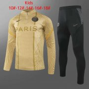 20-21 PSG 50th Anniversary Gold Kids Half Zip Soccer Football Sweater + Pants