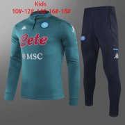 20-21 Napoli Green Kids Half Zip Soccer Football Sweater + Pants