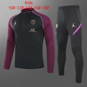 20-21 PSG Black - Purple Kids Soccer Football Training Suit